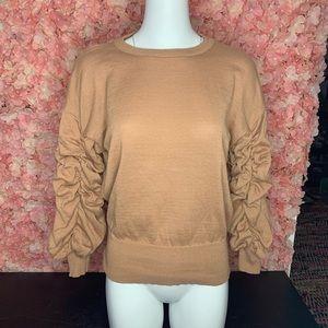 Guess Tan Ruffled Long Sleeve XS/S Shirt